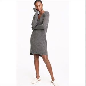 J. Crew Grey Wool Alpaca V-Neck Sweater Dress